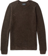 Giorgio Armani Mélange Ribbed-knit Sweater - Brown
