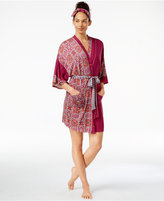 Layla Mixed-Print Wrap Robe with Scarf Headband