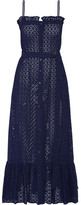 Lisa Marie Fernandez Ruffled Broderie Anglaise Cotton Maxi Dress - Navy