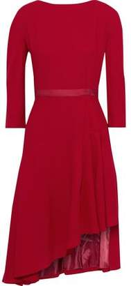 Lanvin Asymmetric Grosgrain-trimmed Wool-crepe Dress