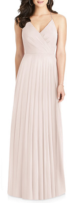 Dessy Collection Lux Chiffon Halter Gown with Ruffle Details