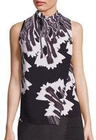 Halston Floral Printed Highneck Top