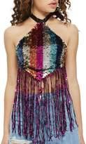 Topshop Rainbow Sequin Halter Top