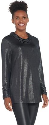 Susan Graver Metallic Knit Cowl-Neck Tunic and Knit Tank Set