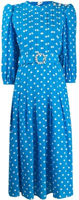 Alessandra Rich Polka Dot Print Belted Dress