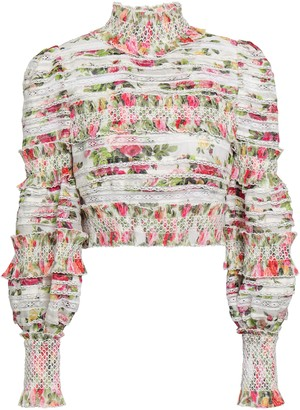 Zimmermann Smocked Floral-print Linen And Silk-blend Top