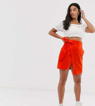 Asos DESIGN Petite utility linen wrap mini skirt