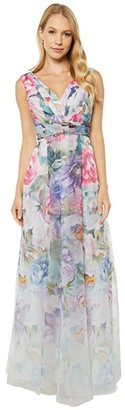 Adrianna Papell Printed Organza Ball Gown (Ivory Multi) Women's Dress