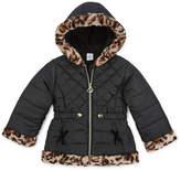 Okie Dokie-Toddler - Girls Hooded Faux Fur Trim Heavyweight Puffer Jacket