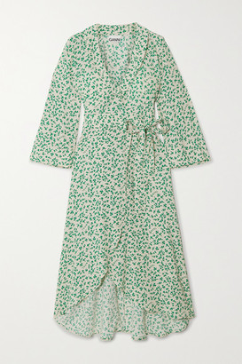 Ganni Floral-print Crepe Wrap Dress - Green