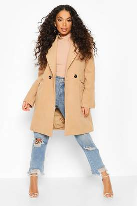 boohoo Petite Tailored Double Breasted Wool Look Coat