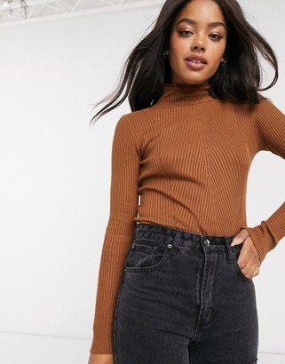 Urban Bliss jersey ribbed high neck jumper in brown