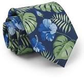 Savile Row Men's Navy Green Blue Palm Leaf Print Silk Tie