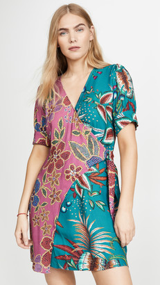 Farm Rio Floral Sparkle Mixed Wrap Dress