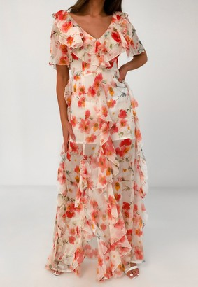 Missguided Pink Floral Print Ruffle High Low Maxi Dress