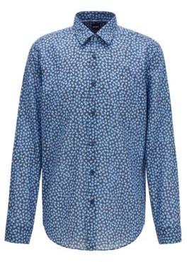 BOSS Regular-fit shirt in leaf-print Italian cotton muslin