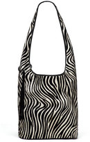 Elizabeth and James Finley Courier Zebra Calf-Hair Hobo Bag, Black/White