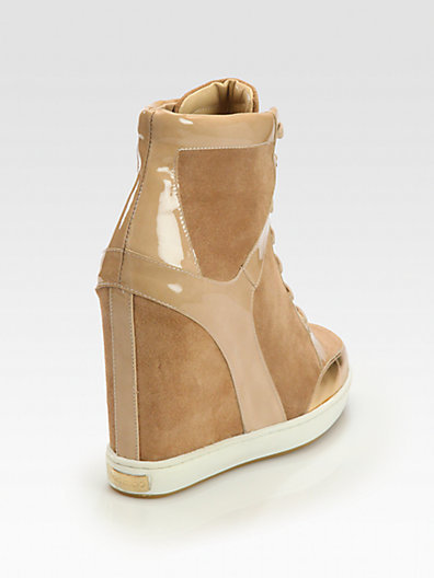 Jimmy Choo Panama Suede Lace-Up Wedge Sneakers