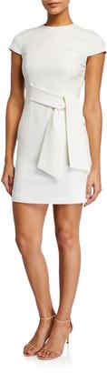 Alice + Olivia Virgil Crewneck Dress w/ Wrap Belt