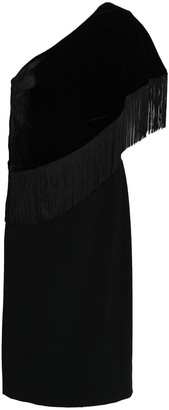 Sachin + Babi Briar One-shoulder Fringed Velvet Dress