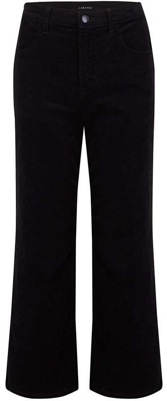 J Brand Jeans Joan Wide Leg Cropped Jean in Black Corduroy