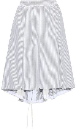 Clu Mesh-paneled Striped Cotton Skirt