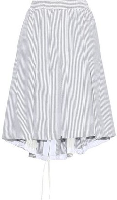 Clu Mesh-paneled Striped Cotton Skirt
