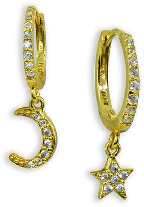 Giani Bernini Cubic Zirconia Moon & Star Charm Drop Huggie Hoop Earring in Sterling Silver or 18k Gold Plated Sterling Silver