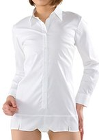 LEONIS SHIRTS & FAVORITES LEONIS Women's Stretch Long-Sleeve Bodysuit Shirt Blouse White [ 41887 ]
