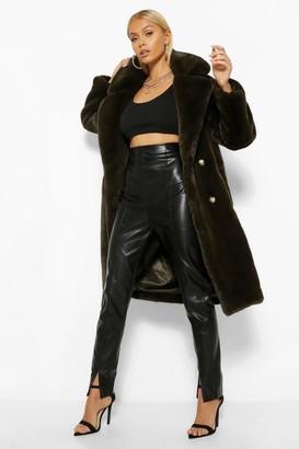 boohoo Plush Faux Fur Double Breasted Coat