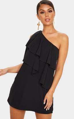 PrettyLittleThing Black One Shoulder Ruffle Detail Shift Dress