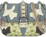 Valentino Rockstud lock small floral leather shoulder bag