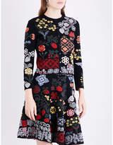 Alexander McQueen Ladies Black Round Luxurious Floral-Intarsia Silk-Blend Cardigan