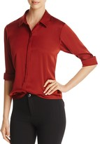 DKNY Long Sleeve Stretch Silk Blouse