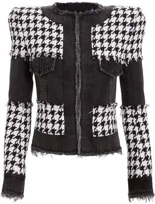 Balmain Mixed Denim & Tweed Jacket
