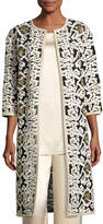 St. John Floral Fringe Embroidered Tulle 3/4-Sleeve Jacket, White/Gold