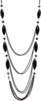 Pavcus Designs Women's Necklaces - Blue & Black Beaded Four-Strand Bib Necklace