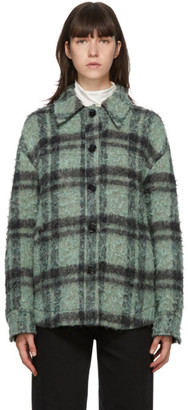 Acne Studios Green and Black Wool Check Jacket