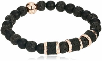 Steve Madden Men's Black Lava Stone Stretch Bracelet in Rose IP Stainless Steel