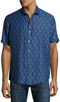 Zachary Prell Mehmet Palm Leaf Short-Sleeve Sport Shirt, Navy