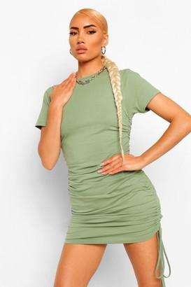 boohoo Short Sleeve Rouched Mini Dress