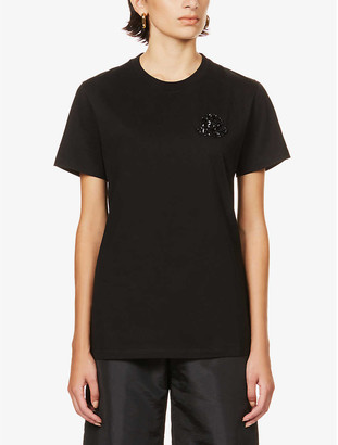 Moncler Embellished cotton-jersey T-shirt