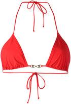 Tory Burch gold-tone detail bikini top - women - Nylon/Spandex/Elastane - L