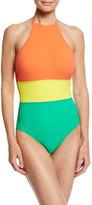 Diane von Furstenberg Halter-Neck One-Piece Swimsuit, Orange Yellow Green Multi