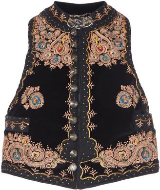 Etro Embroidered Studded Cotton-Velvet Vest
