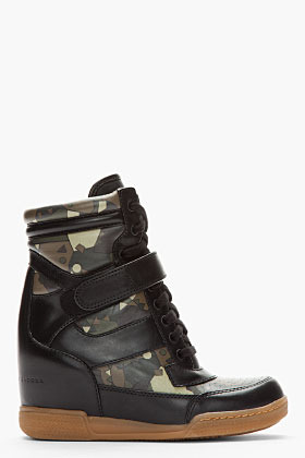 Marc by Marc Jacobs Black Camo Print Leather Sneaker Wedges