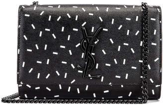 Saint Laurent Small Kate Chain Monogramme Bag in Black & White   FWRD