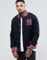 Majestic Yankees Letterman Jacket In Wool