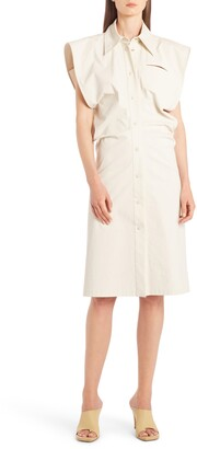 Bottega Veneta Cap Sleeve Coated Cotton Blend Shirtdress