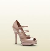 Gucci Light Pink Patent Leather High-Heel Platform Shoe